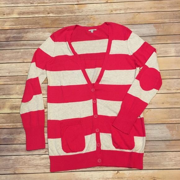 Halogen Sweaters - Halogen Pink Striped Boyfriend Cardigan, Sz Large